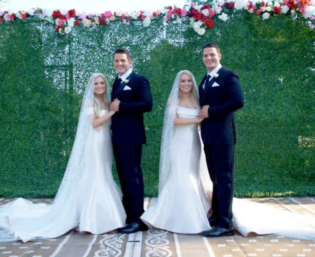 Identical twins Brittany and Briana Deane married identical twin brothers Josh and Jeremy Salyers on Saturday. (Photo: TLC)