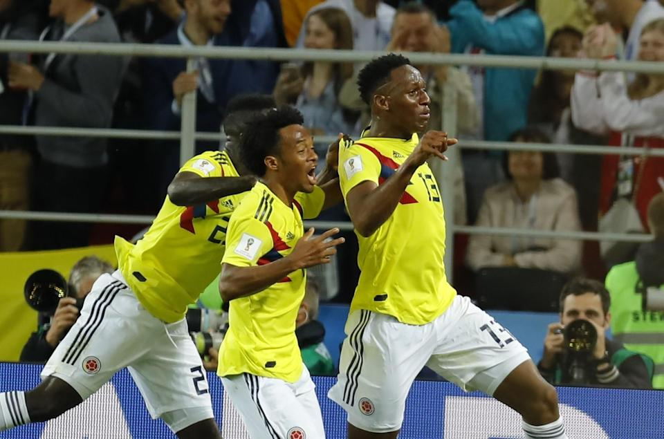 Yerry Mina (13) of Colombia celebrates with his teammates after scoring a goal during the 2018 FIFA World Cup Russia Round of 16 match between Colombia and England at the Spartak Stadium in Moscow, Russia on July 03, 2018. (Getty Images)