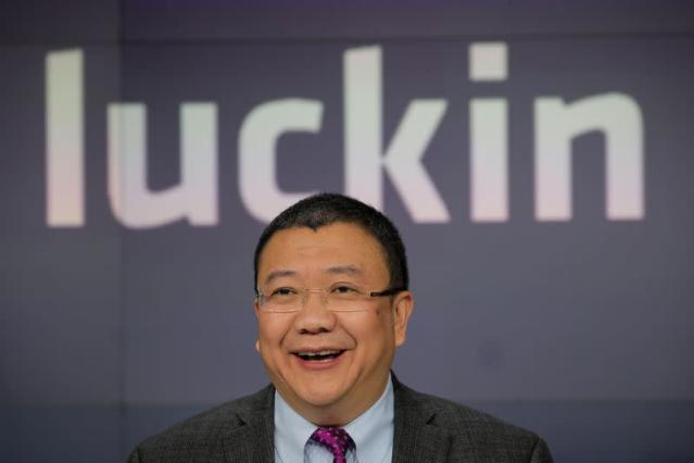 Charles Zhengyao Lu, non-executive chairman of Luckin Coffee, speaks during the company's IPO at the Nasdaq Market site in New York