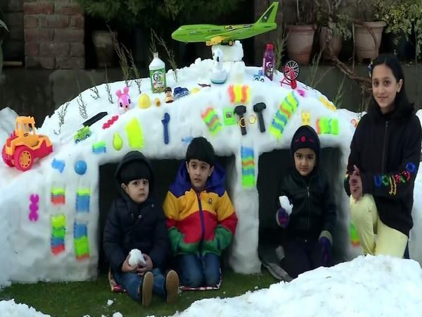 Artists craft out shelters and cars from snow in Srinagar