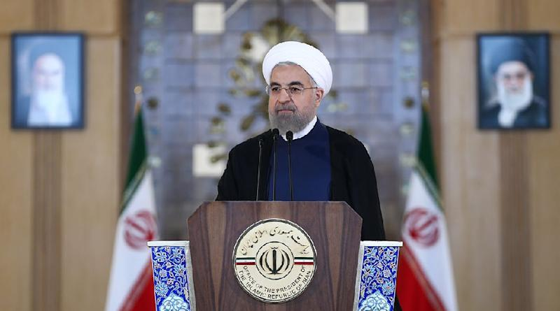 A picture released on July 14, 2015 by the official website of the Iranian President Hassan Rouhani shows him delivering a statement in Tehran (AFP Photo/)
