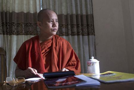 Myanmar's firebrand Buddhist monk Wirathu sits in a supporter's home during a Reuters interview in Yangon, Myanmar October 4, 2015. REUTERS/Soe Zeya Tun/File Photo