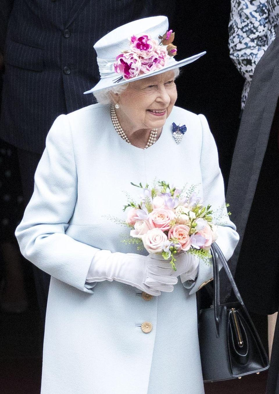 <p>When her mother died in 2002, Queen Elizabeth inherited several pieces of jewelry, including this Sapphire and Diamond Grapes Brooch.</p>
