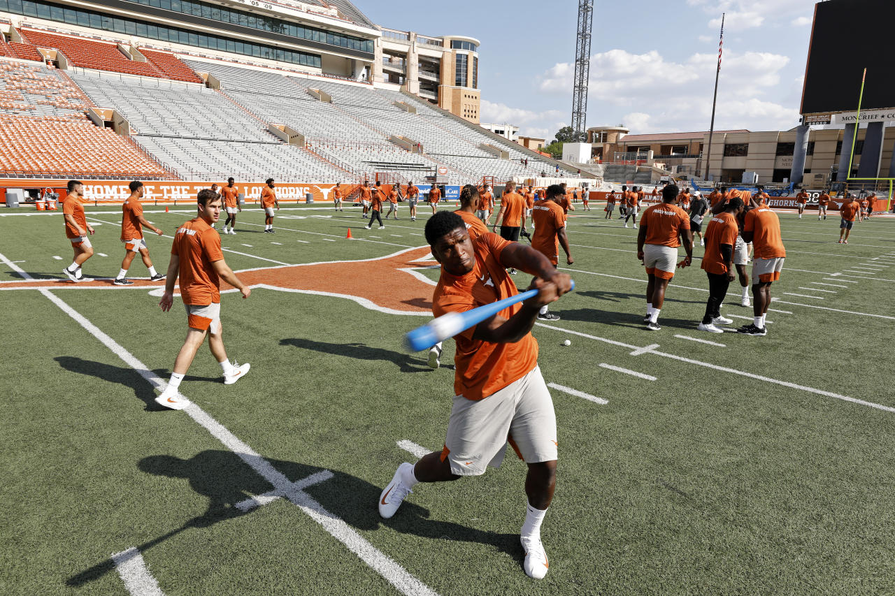 Texas Longhorns' Jamari Chisholm bats during Family Friday practice held Friday Sept. 6, 2019 at Darrell K Royal-Texas Memorial Stadium in Austin, Tx. ( Photo by Edward A. Ornelas )