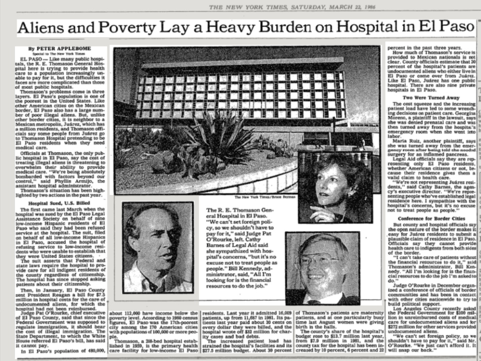 A March 1986 article from the New York Times describes Judge Pat O'Rourke's angry response to federal government inaction on the Texas immigration crisis.