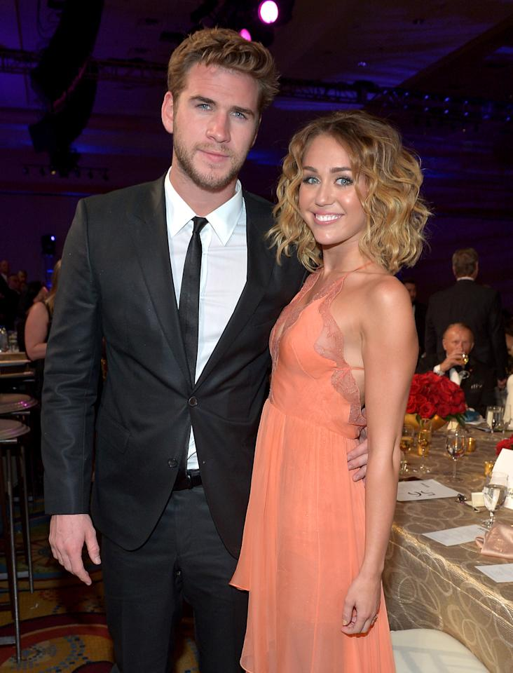 PHOENIX, AZ - FILE:  Actor Liam Hemsworth (L) and singer/actress Miley Cyrus attend Muhammad Ali's Celebrity Fight Night XIII held at JW Marriott Desert Ridge Resort & Spa on March 24, 2012 in Phoenix, Arizona.  The couple are engaged to be married as confirmed by their reps on June 6, 2012.  (Photo by Charley Gallay/Getty Images for CFN)
