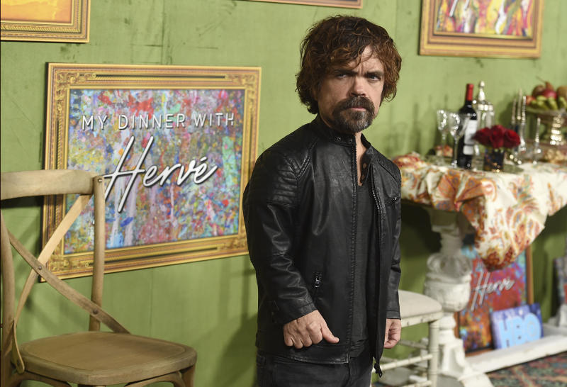 "Peter Dinklage arrives at the Los Angeles premiere of ""My Dinner with Herve"" on Thursday, Oct. 4, 2018, at Paramount Studios. (Photo by Jordan Strauss/Invision/AP)"