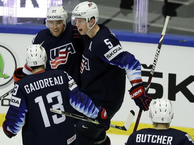 Ice Hockey - 2018 IIHF World Championships - Quarterfinals - USA v Czech Republic - Jyske Bank Boxen - Herning, Denmark - May 17, 2018 - Cam Atkinson of the U.S. celebrates with teammates after scoring. REUTERS/David W Cerny