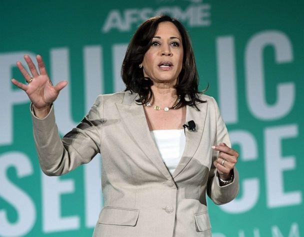 PHOTO: Democratic presidential candidate and U.S. Sen. Kamala Harris, D-Calif., speaks during the 2020 Public Service Forum hosted by the American Federation of State, County and Municipal Employees (AFSCME) on Saturday, Aug. 3, 2019 in Las Vegas. (Ethan Miller/Getty Images)