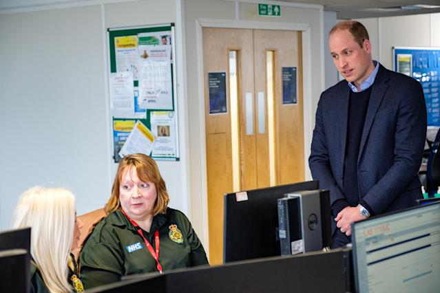William spoke to call handlers in the Croydon centre as they get through five times as many calls as usual. (Kensington Royal)