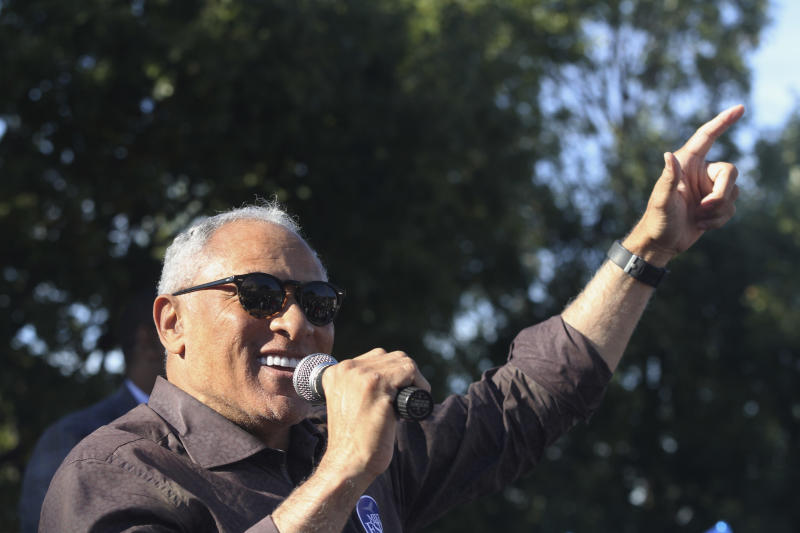 Mike Espy, who is seeking to unseat appointed U.S. Sen. Cindy Hyde-Smith, R-Miss., speaks about the upcoming Senate runoff during a rally in Vicksburg, Miss., Friday, Nov. 16, 2018. (Courtland Wells/The Vicksburg Post via AP)