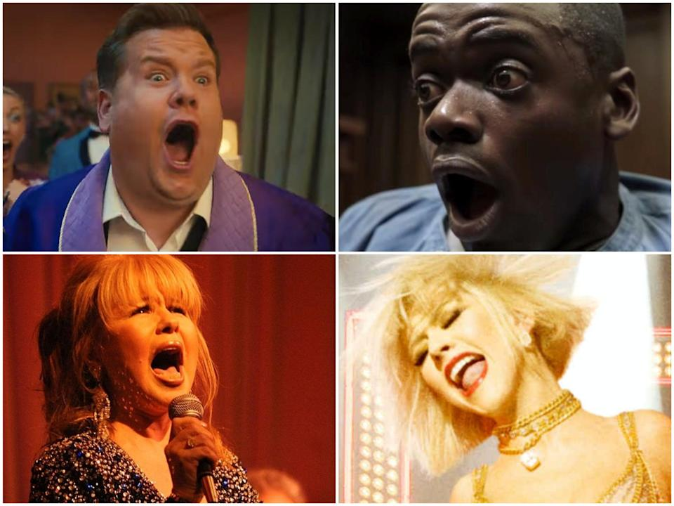 Globes weirdest: Daniel Kaluuya in Get Out, Christina Aguilera in Burlesque, Pia Zadora in concert, and James Corden in The Prom (clockwise from top right)  (Universal/Screen Gems/Valerie Macon/Getty/Netflix)
