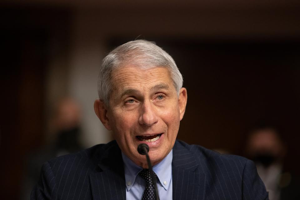 Pictured is Anthony Fauci, director of National Institute of Allergy and Infectious Diseases at NIH, as he testifies at a Senate Health, Education, and Labor and Pensions Committee on Capitol Hill,  on September 23, 2020 in Washington, DC. Dr. Fauci addressed the testing of vaccines and if they will be ready by the end of the year or early 2021.