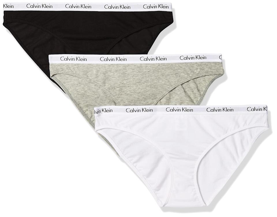 """<h2>Up to 40% off Calvin Klein</h2><br>Making your underwear drawer Calvin-exclusive has never been easier, thanks to Amazon's Prime Day savings on the iconic underwear brand's cotton wares.<br><br><em>Shop Calvin Klein at <strong><a href=""""https://amzn.to/2SUl40h"""" rel=""""nofollow noopener"""" target=""""_blank"""" data-ylk=""""slk:Amazon"""" class=""""link rapid-noclick-resp"""">Amazon</a></strong></em><br><br><strong>Calvin Klein</strong> Carousel Logo Cotton Bikini Panty (3-Pack), $, available at <a href=""""https://amzn.to/3iXSKot"""" rel=""""nofollow noopener"""" target=""""_blank"""" data-ylk=""""slk:Amazon"""" class=""""link rapid-noclick-resp"""">Amazon</a>"""