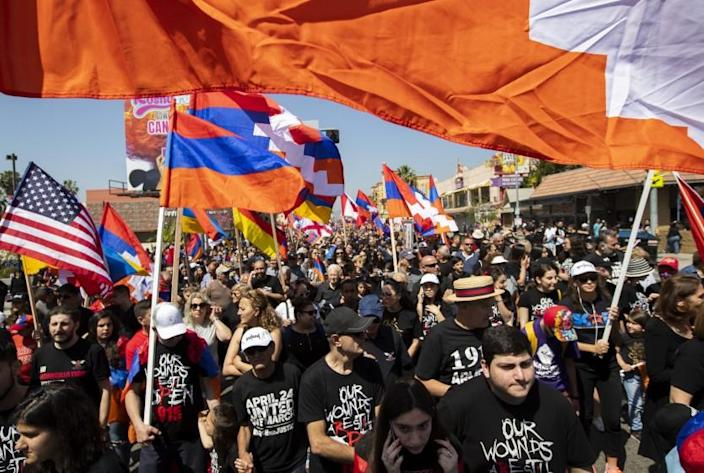 HOLLYWOOD, CALIF. -- WEDNESDAY, APRIL 24, 2019: Thousands of people join a march organized by Unified Young Armenians commemorating the Armenian Genocide on Hollywood and Hobart Boulevards in Hollywood, Calif., on April 24, 2019. (Brian van der Brug / Los Angeles Times)