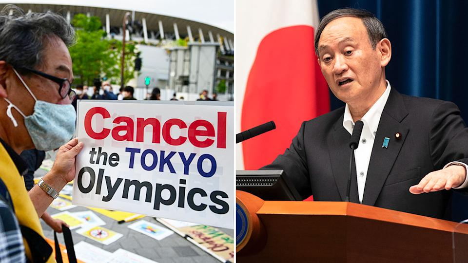 Pictured right, Japanese PM Yoshihide Suga and an Olympic Games protester on the left.
