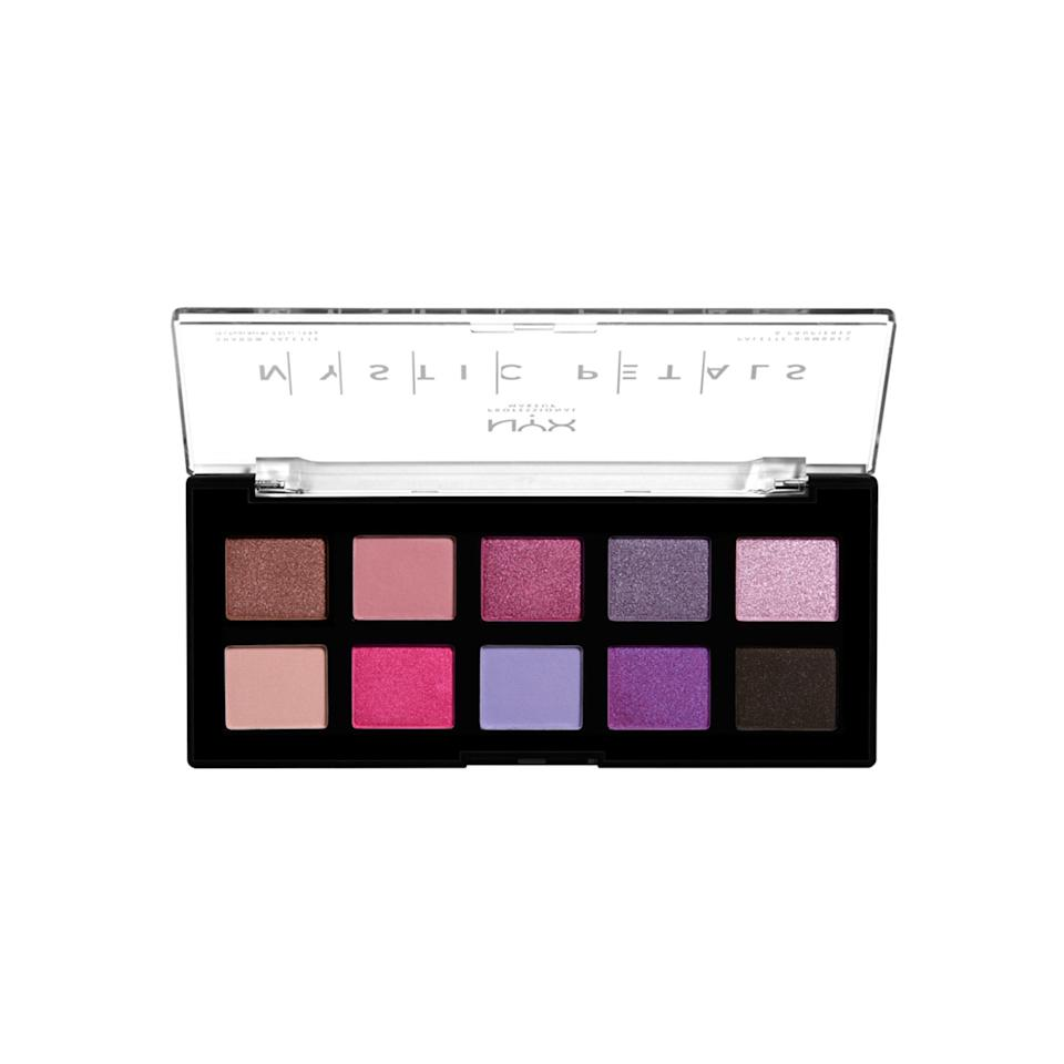 "<p>Berry picking season may be over, but the same tones from your summer fruit salad stay strong with the Nyx Mystic Petals Shadow Palette. If you're in a smoky eye mood, allow either the first or last column to help you get that sultry vibe on the outer corner of your eyes. Then, blend the shades from the middle section in the center of your lids for an unexpected splash of color.</p> <p>$12 (<a href=""https://shop-links.co/1682396518345443611"" rel=""nofollow"">Shop Now</a>)</p>"
