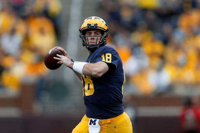 Michigan quarterback Brandon Peters is taking his talents elsewhere. (AP Photo/Paul Sancya)
