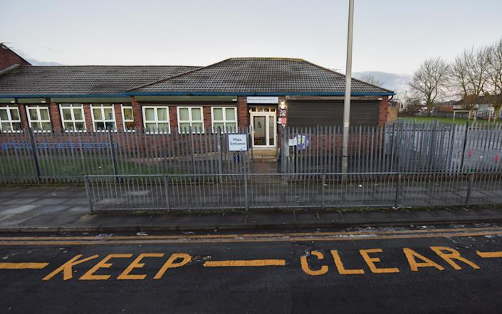 Holy Name Catholic Primary School in Fazakerley, Liverpool this morning, which announced that they will not be opening as planned this week - Mercury Press