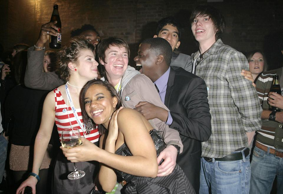 The cast of the TV series Skins, (l-r) Aimee-Ffion Edwards, Larissa Wilson, Joseph Dempsie, Daniel Kaluuya, Dev Patel and Nicholas Hoult attending the Spring Fling launch party for the new Sony NWZ-A820 Walkman Video MP3, at Reliance Square, Shorditch, east London.   (Photo by Carmen Valino - PA Images/PA Images via Getty Images)