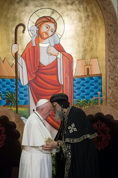 Pope Francis meets Pope Tawadros II, spiritual leader of Egypt's Orthodox Christians, on April 28, 2017 at St. Mark's Cathedral in Cairo