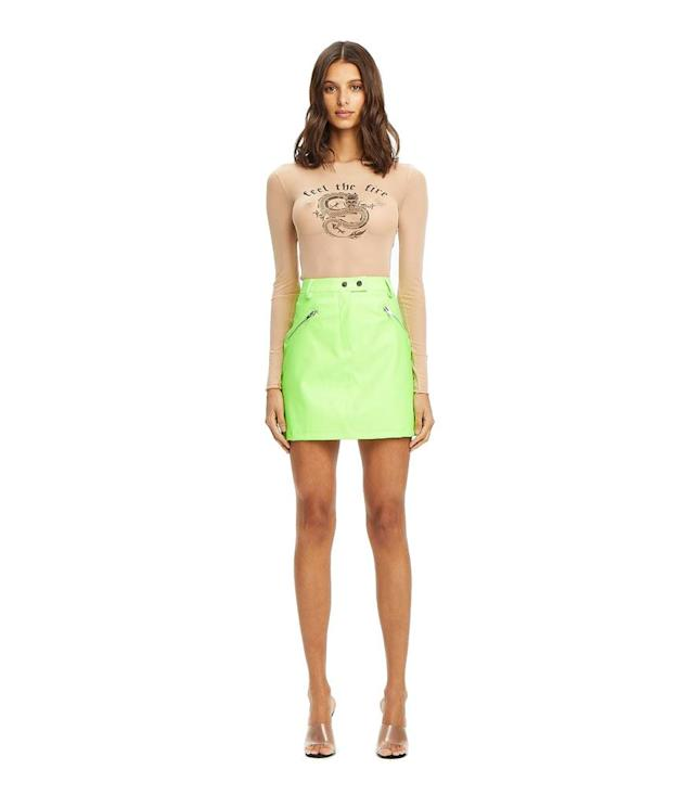 "<p>Jagger Skirt, $75, <a href=""https://iamgia.com/collections/skirts-and-shorts/products/jagger-skirt-neon-green"" rel=""nofollow noopener"" target=""_blank"" data-ylk=""slk:iamgia.com"" class=""link rapid-noclick-resp"">iamgia.com </a> </p>"