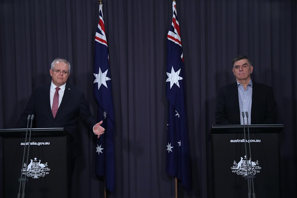 Australian Prime Minister Scott Morrison and the Chief Medical Officer Brendan Murphy update the public on the latest coronavirus measures from Parliament House. Source: AAP