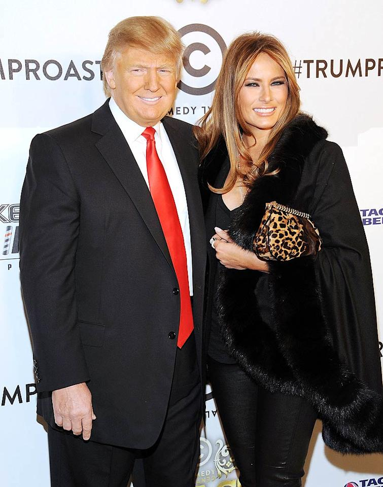 """Donald Trump showed up with thick skin and his wife Melania at New York's Hammerstein Ballroom, ready to be roasted by friends, comics, and even complete strangers. We're sure he came prepared for plenty of hair jokes! Michael Kovac/<a href=""""http://www.wireimage.com"""" target=""""new"""">WireImage.com</a> - March 9, 2011"""