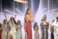 This image released by Miss Universe Organization shows Miss Universe Mexico 2020 Andrea Meza reacting as she was named Miss Universe at the 69th Miss Universe Competition at the Seminole Hard Rock Hotel & Casino in Hollywood, Fla. on Sunday, May 16, 2021. (Benjamin Askinas/Miss Universe via AP)