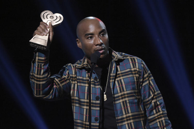 Charlamagne tha God accepts the award for Best Multicultural Podcast during the 2019 iHeartRadio Podcast Awards at the iHeartRadio Theater on Friday, Jan.18, 2019, in Burbank, Calif. (Photo by Richard Shotwell/Invision/AP)