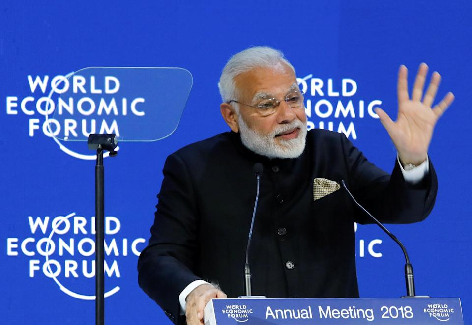 India's Prime Minister Narendra Modi speaks at the World Economic Forum (WEF) annual meeting in Davos, Switzerland, January 23, 2018. REUTERS/Denis Balibouse