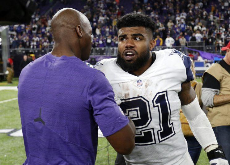 Let Zeke eat with Adrian Peterson? That doesn't appear to be an option for Ezekiel Elliott and the Cowboys. (AP)
