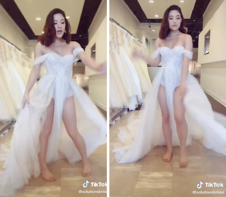 Diaper wedding dress with 'crotch waterfall' cut bizarre bridal looks 2020