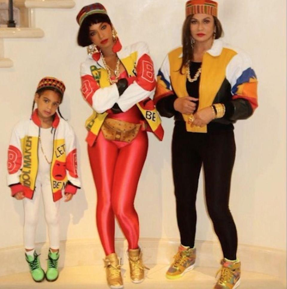 <p>Beyoncé, Blue Ivy, and Tina Lawson showed up for Halloween one year as American hip-hop girl group Salt-N-Pepa. Beside providing us with some of our favorite songs of all time, the hip-hop group has stocked us with super-'90s ensembles to copy. </p>