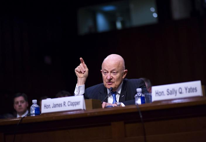 Former Director of National Intelligence James Clapper testifies before the Senate Subcommittee on Crime and Terrorism, May 8, 2017. (Photo: Eric Thayer/Getty Images)