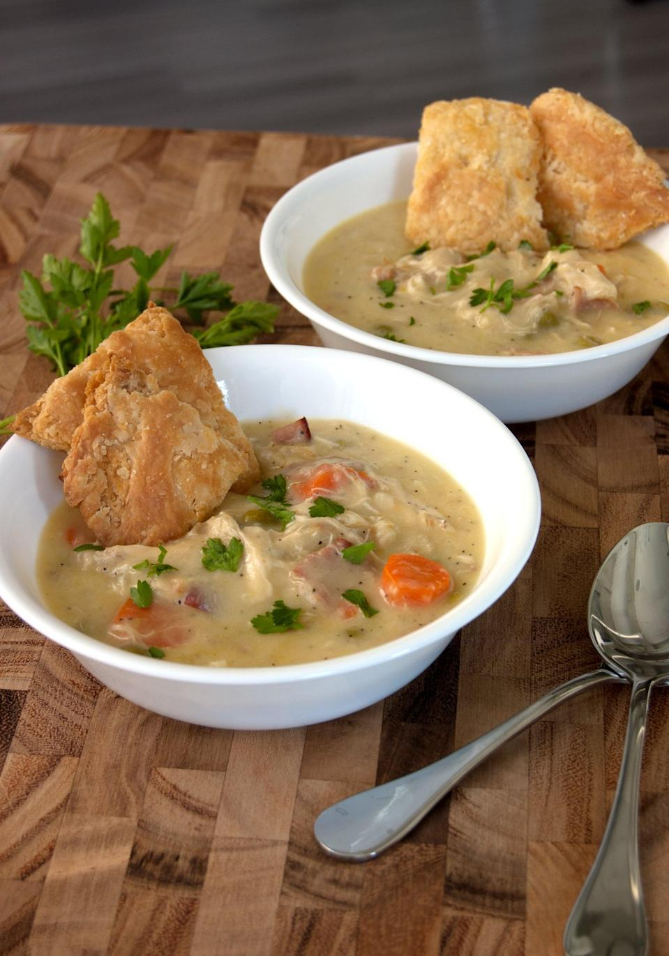 """<p>Chrissy calls herself the soup master, and this recipe proves why. It's everything you love about chicken pot pie, but in a comforting soup format. Use the buttery pie crust crackers to scoop up every last drop. </p> <p><strong>Get the recipe:</strong> <a href=""""https://www.popsugar.com/food/Chicken-Pot-Pie-Soup-Recipe-40318468"""" class=""""link rapid-noclick-resp"""" rel=""""nofollow noopener"""" target=""""_blank"""" data-ylk=""""slk:Chrissy Teigen's chicken pot pie soup"""">Chrissy Teigen's chicken pot pie soup</a></p>"""