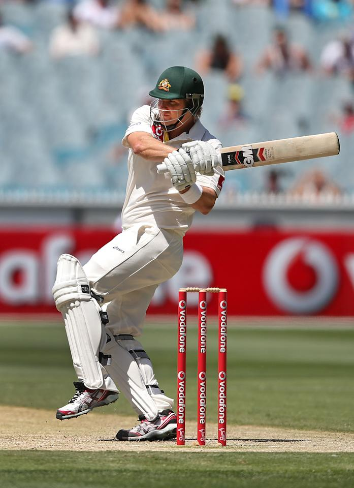 MELBOURNE, AUSTRALIA - DECEMBER 27:  Shane Watson of Australia hits the ball during day two of the Second Test match between Australia and Sri Lanka at Melbourne Cricket Ground on December 27, 2012 in Melbourne, Australia.  (Photo by Michael Dodge/Getty Images)