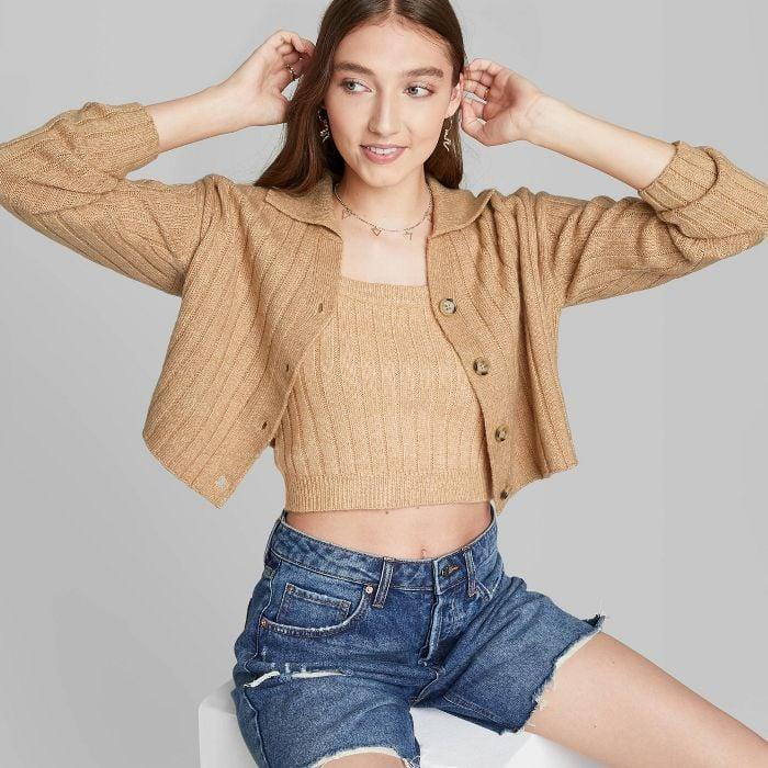 <p>Leave this <span>Wild Fable Women's Button-Front Ribbed Cropped Cardigan</span> ($25) open over a tank or matching knit top, or button it all the way up over high-waisted jeans when temperatures drop.</p>