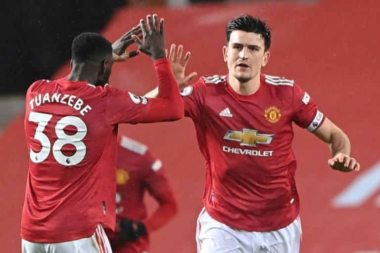 Manchester United defender Harry Maguire celebrates his goal against Sheffield United