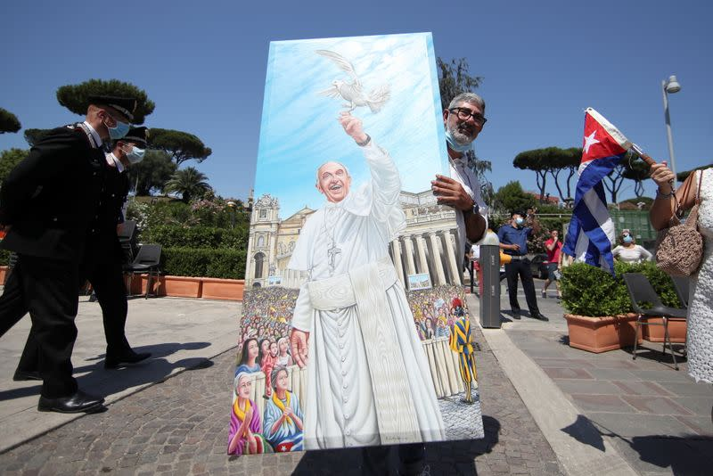 Pope Francis leads the Angelus prayer from Gemelli hospital in Rome