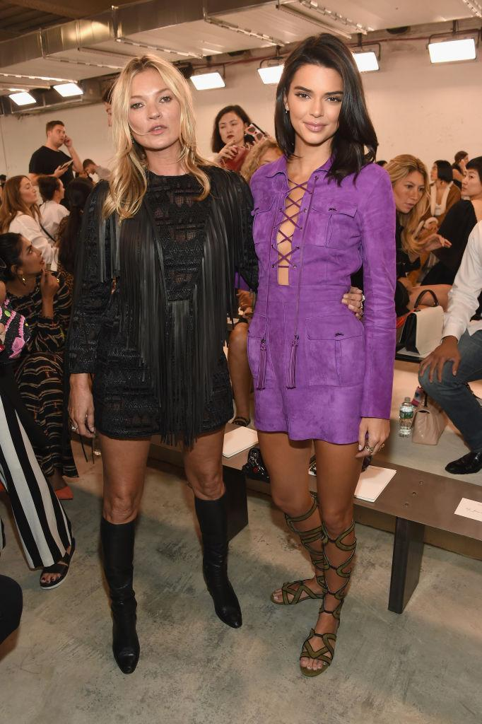<p>Models Kate Moss and Kendall Jenner pose at the Longchamp Spring 2019 show during New York Fashion Week at the World Trade Center on September 8, 2018 in New York City. (Photo: Dimitrios Kambouris/Getty Images) </p>