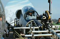 <p>Pierce Brosnan filming a scene in a fake L-39 Albatros for the opening sequence of Tomorrow Never Dies.</p>