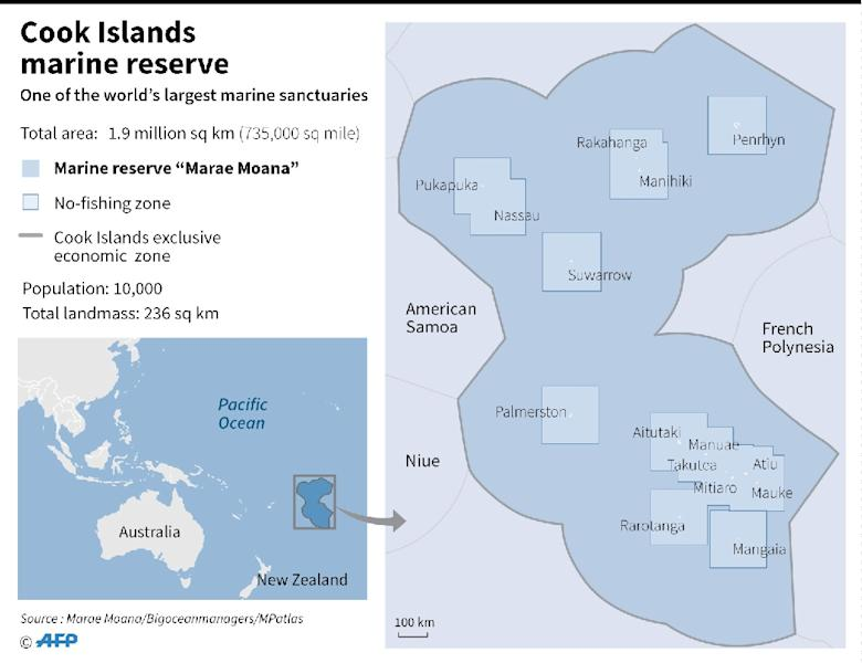Map showing the massive marine reserve created by Cook Islands in the Pacific Ocean (AFP Photo/Gal ROMA)