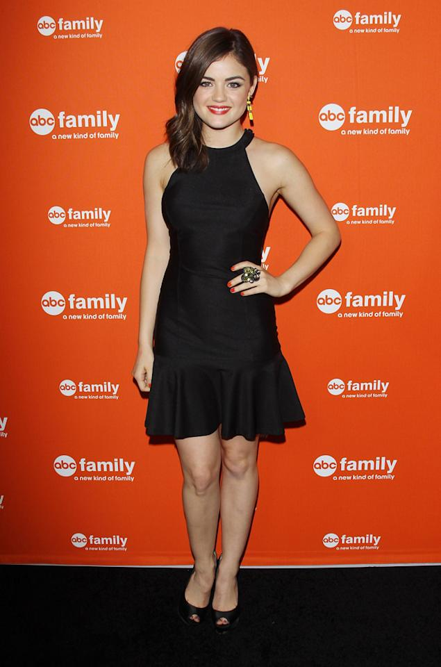 """Lucy Hale (""""Pretty Little Liars"""") arrives at ABC Family's West Coast Upfronts at The Sayers Club on May 1, 2012 in Hollywood, California."""