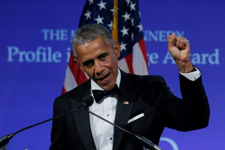 Obama speaks after receiving the 2017 Profile in Courage Award at the John F. Kennedy Library in Boston last week. (Brian Snyder/Reuters)