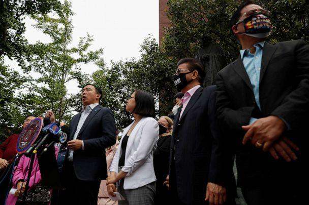 PHOTO: Andrew Yang, Democratic candidate for mayor of New York City, speaks during a rally against Asian hate crimes in Manhattan's Chinatown district of New York, June 2, 2021. (Shannon Stapleton/Reuters)