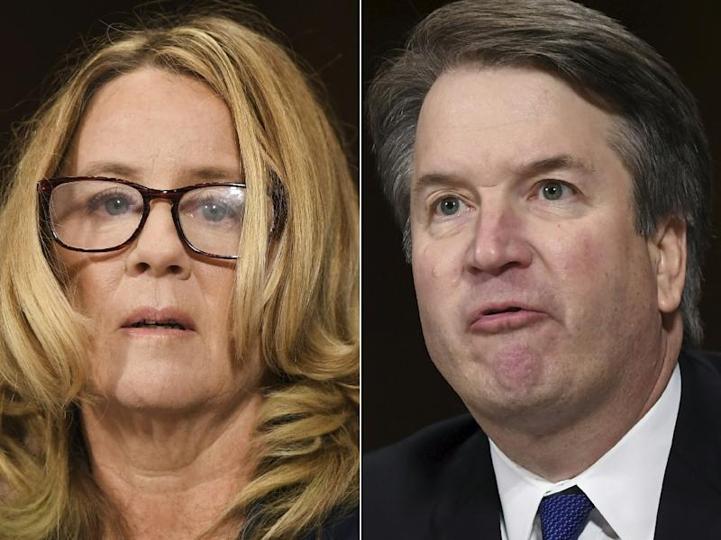 This combination of pictures shows Dr. Christine Blasey Ford, the woman who accused Supreme Court Judge Brett Kavanaugh (R) of sexually assaulting her at a party 36 years ago, during a Senate hearing