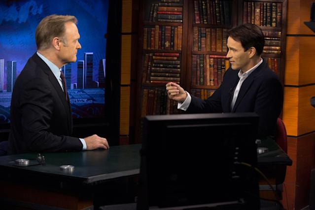 "Lawrence O'Donnell and Stephen Moyer in the ""True Blood"" Season 6 episode, ""Radioactive."""