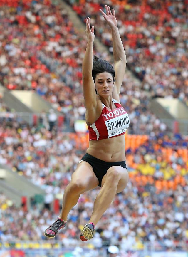 MOSCOW, RUSSIA - AUGUST 11: Ivana Spanovic of Serbia competes in the Women's Long Jump final during Day Two of the 14th IAAF World Athletics Championships Moscow 2013 at Luzhniki Stadium on August 11, 2013 in Moscow, Russia. (Photo by Christian Petersen/Getty Images)