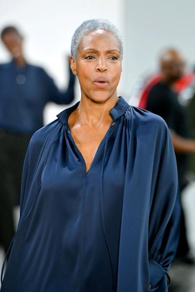 Coco Mitchell modeling for Deveaux at New York Fashion Week (AFP Photo/Mike Coppola)